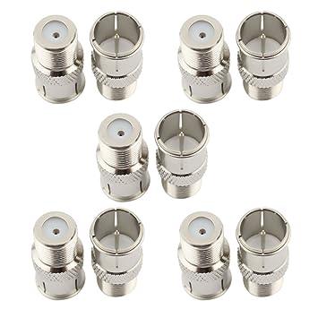 safercctv (Pack de 10) F Tipo Push en rápido coaxial conectores adaptador para RVers