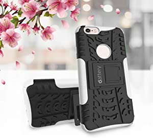 DATTERY Case for iPhone 6s Plus Precise Cutout for Charging and Adjustment Buttons Without Adding Bulk Kickstand Design (White)