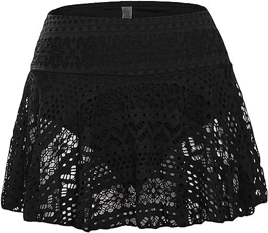 FENICAL Falda de baño para Mujer Falda de Encaje Crochet Bikini ...