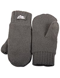 Toddler kids warm fleece lined knit mittens with thumb for fall winter (Mitten M: 9-36m, Dark grey)