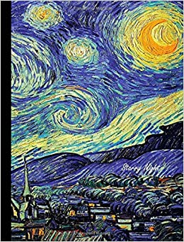 starry night composition book graph paper 4x4 math notebook for school journal for girls boys students teachers class and office stationary vincent van gogh