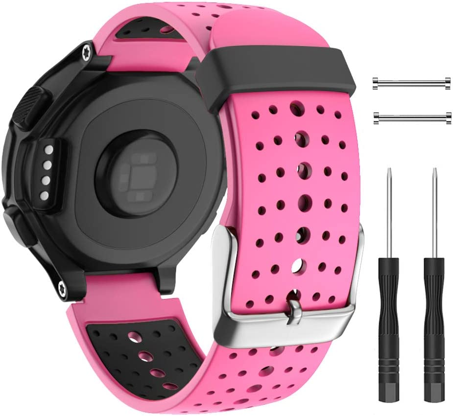 Isabake Watch Band for Garmin Forerunner 735XT 235 235Lite 230 220 620 630 Approach S20 S5 S6, Soft Silicone Replacement Strap for Garmin 735XT 235 230 220 620 630 Watch Accessories(Pink)