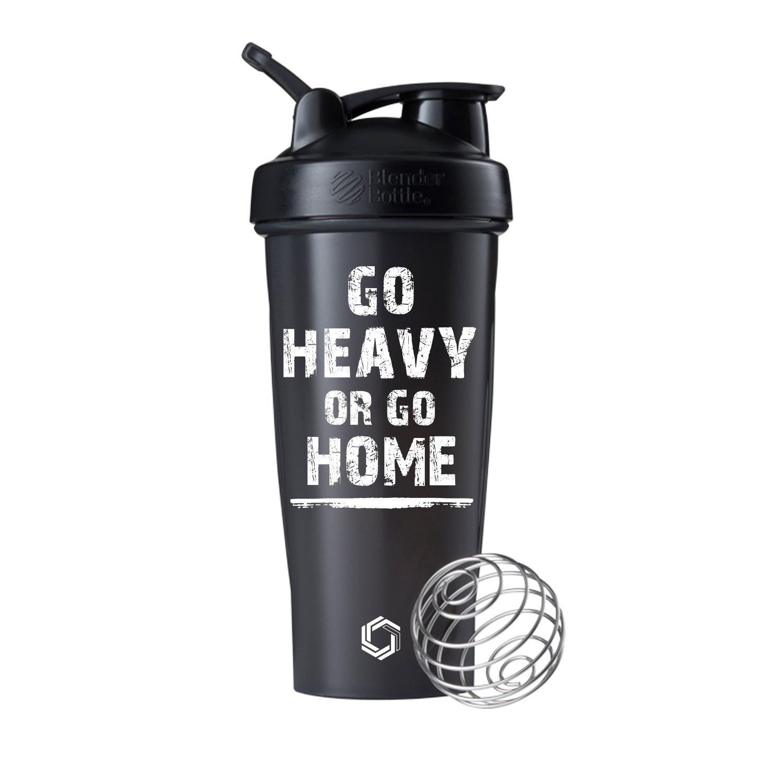 Go Heavy or Go Home on BlenderBottle brand Classic shaker cup, 28oz Capacity, Includes BlenderBall whisk … (Black - 28oz)