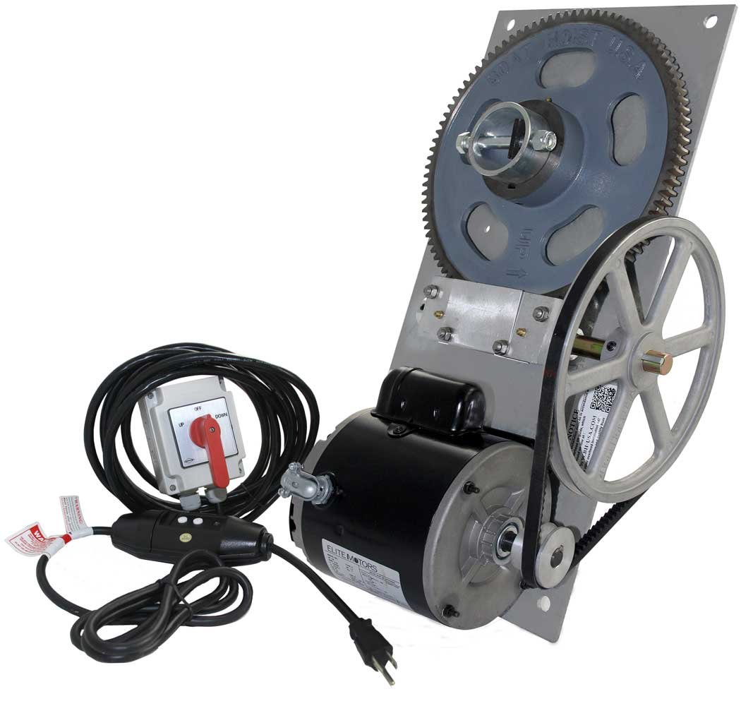3,000 lb. Standard Flat Plate Boat Hoist Combo (One Box) - Powder Coated Painted Plate/Maintained Switch/110v/16 ft. Control Cable
