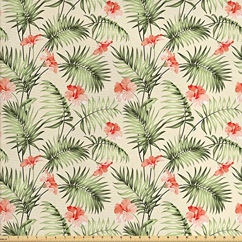 Ambesonne Leaf Fabric by The Yard, Hawaiian Aloha Nature Pattern with Rainforest Elements Palm Branches Hibiscus, Decorative Fabric for Upholstery and Home Accents, 1 Yard, Peach Salmon ()