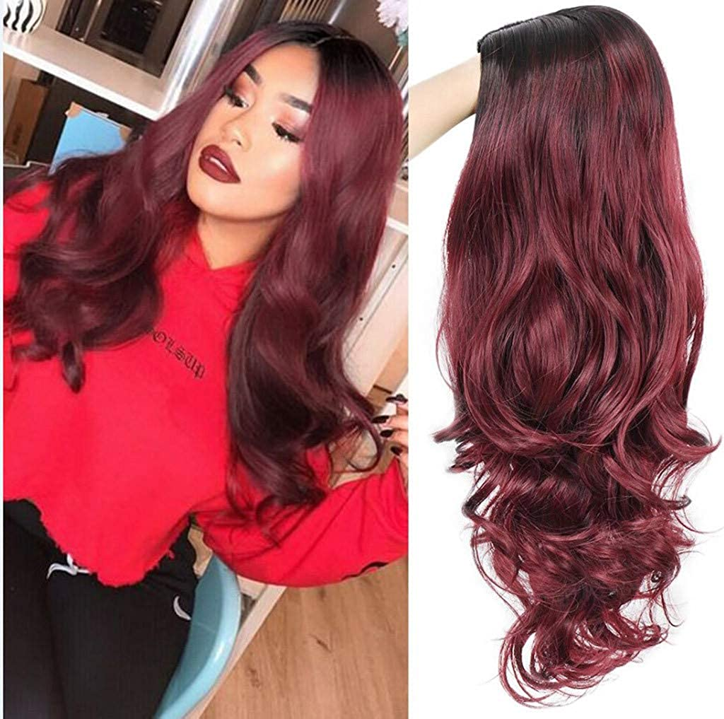 Amazoncom Wig Wine Red Silky Curly High Density Long Heat