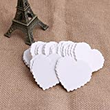 Mimgo Store 100Pcs Kraft Paper Heart-shaped Hang Tags Wedding Party Favor Label Price Cards (White) offers