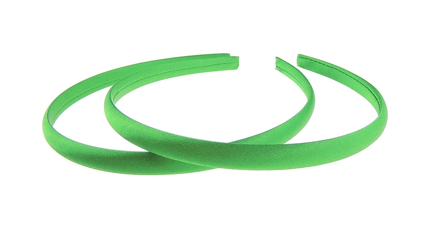 Girls Set of 2 Narrow 1cm Satin Covered Alice Bands Headbands Many Colours (Jade Green) Glamour Girlz