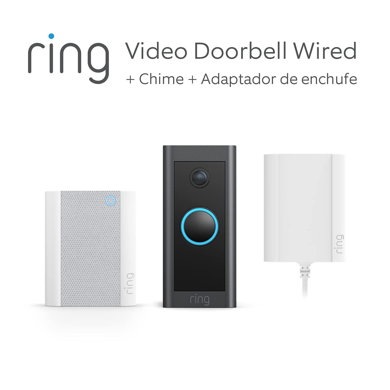 Te presentamos el Ring Video Doorbell Wired + Adaptador de enchufe y Chime de Amazon | Vídeo HD, detección movimiento avanzada y adaptador de enchufe | Prueba gratuita de 90 días del plan Ring Protect
