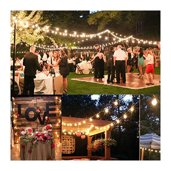 Outdoor String Lights LED Newpow 48ft with 23+2 Spare Bulbs -Clear Glass, Dimmable Waterproof, 1W 60LM 2200K Warm Glow… - 【Beautiful color and plenty of lights】Perfect ambient lighting- just like dining at a fine outdoor restaurant. They replicate the lighting effect of incandescent filament lamps. Solved the defects of dim, short life and overheating. That produces a glow like incandescent filaments. 【Bulb Stylish and Easy to Install 】2ft spacing between sockets. 23 sockets per cord. Total length is 48ft, yet uses up to 90% less power than incandescent bulbs. With an average lifespan of 10,000 hours. End to end connects up to 20 strands. 【IPX6 Waterproof】Commercial grade high quality is perfect for permanent outdoor lighting, UL certified string light can withstand extreme temperatures, rain, wind or wet weather, Unlike traditional ropes, they are more durable. - patio, outdoor-lights, outdoor-decor - 61oh1FS9XlL. SS570  -