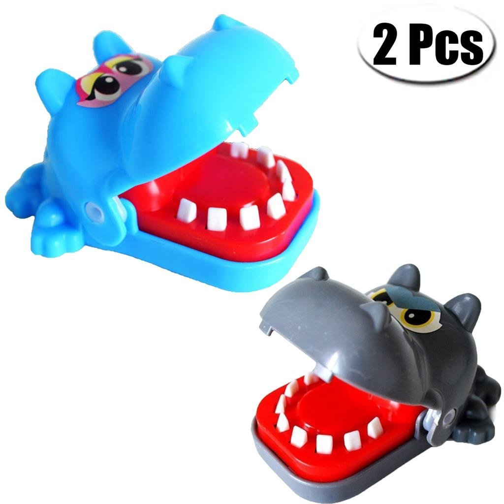 Mcree 2Pcs Hippopotamus Biting Finger Game Funny Toys For Children Kid adult, Cute Funny Gifts Crocodile Mouth Dentist - 1 To 4 Players, Ages 4 and Up, In Random Colors Dazzling Sunshine