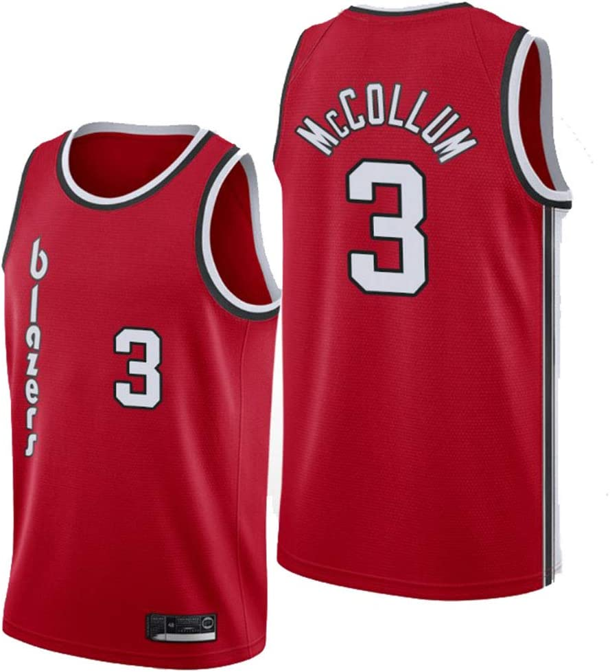 Portland Trail Blazers 3# McCOLLUM Jerseys Breathable Embroidered Basketball Swingman Jersey AMJUNM Men/'s Women Jersey