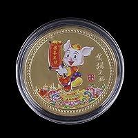 AOWA 1 pièce de Monnaie Souvenir de l'année du Cochon Chinois Zodiaque Porte-Bonheur
