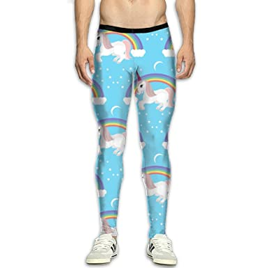 b7dc9a9104c8c Amazon.com: Men¡¯s Compression Rainbow Unicorn Pants Baselayer Running  Tights 3D Print Fitness Sports Leggings: Clothing