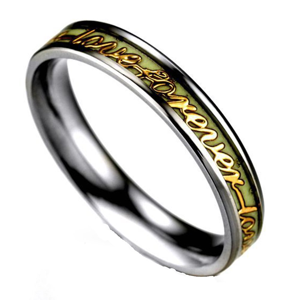 JAJAFOOK Men Wide 6/4mm Luminous Effect Stainless Steel Luminous Forever Love Ring Glow in the Dark