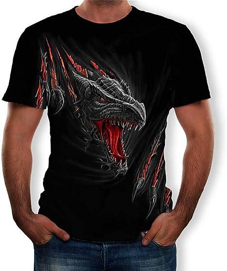 RCFRGV Camiseta 3DT Camiseta Hombre - 3D / Animal/Dibujos Animados Cuello Redondo Negro XL: Amazon.es: Deportes y aire libre