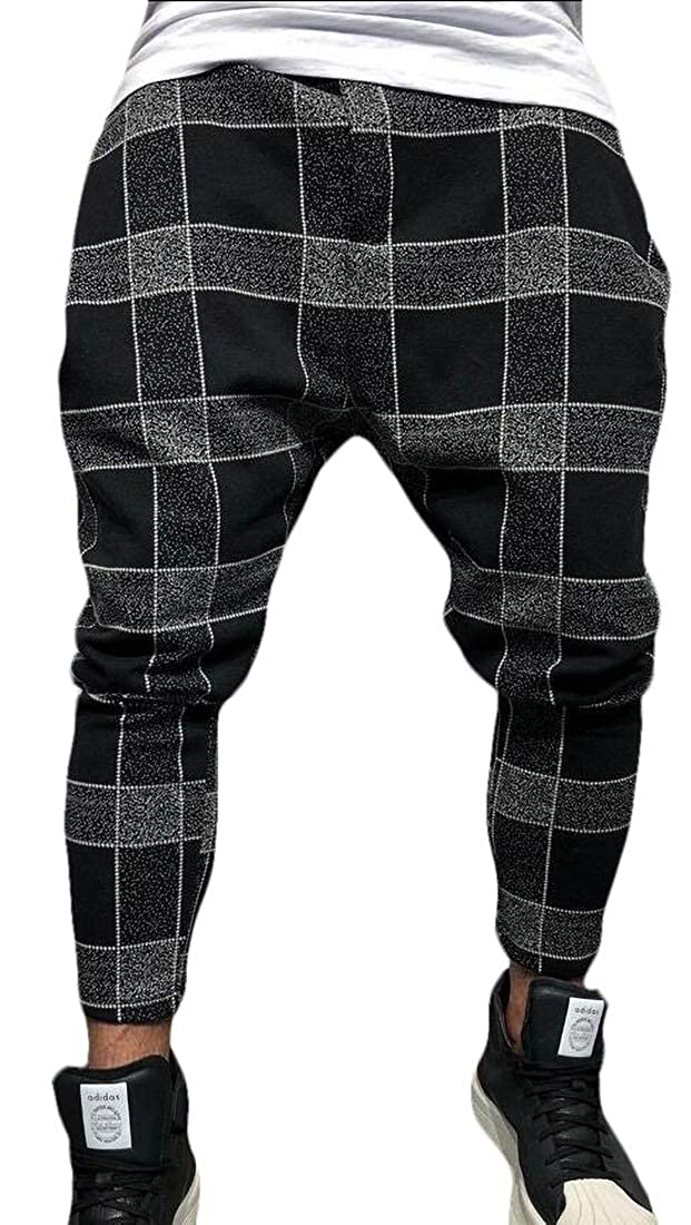 GAGA Men Skinny Stretch Plaid Trousers Long Hip Hop Pencil Pants