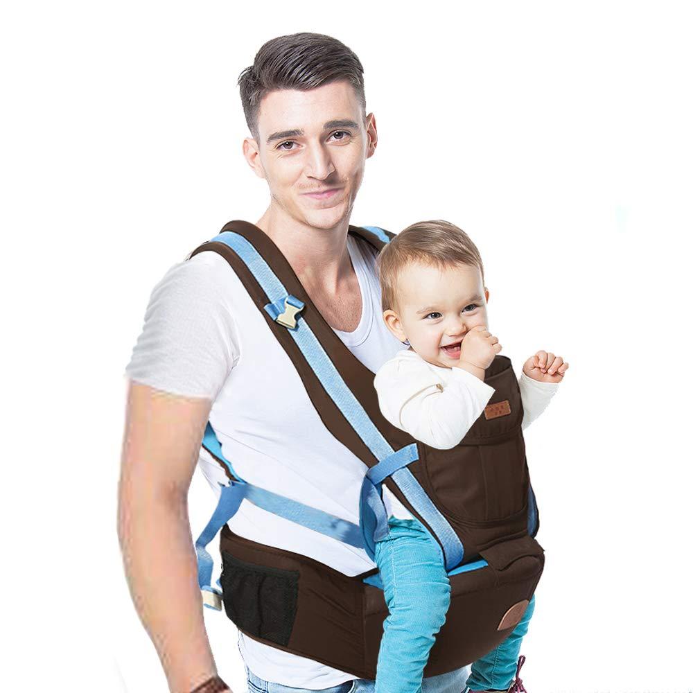 Kind & Babytrage,Babytrage Mit Hüftsitz 360 ° Ergonomische Babytrage,Positionen Babytrage Einfaches Stillen für Alle Neugeborenen (Blau)