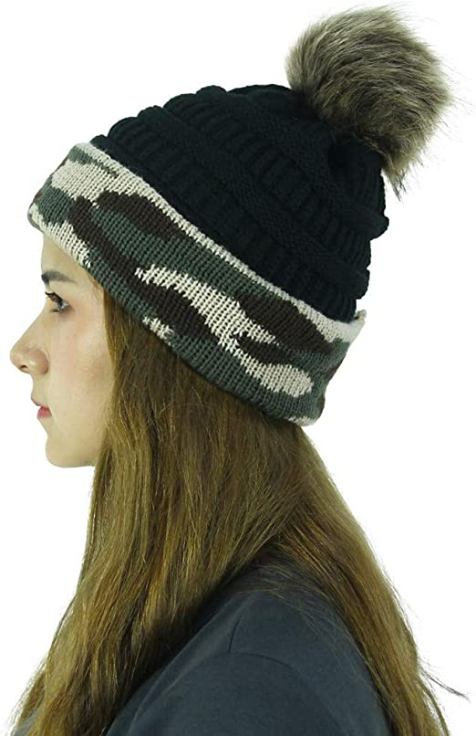 Men Women Knitted Winter Warmer Beanie Hats Ski Cap Chunky Camouflage Outdoor