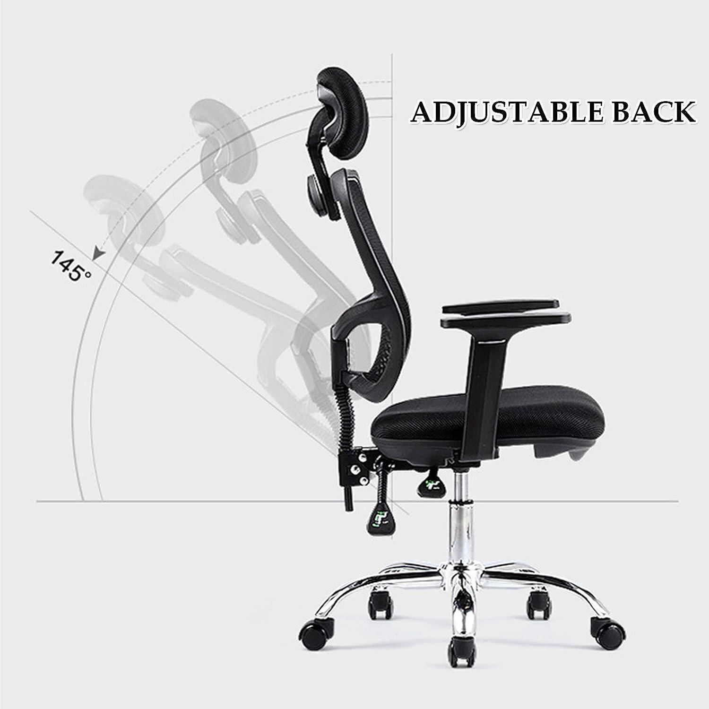Ergonomisk mesh kontorsstol, hög rygg skrivbordsstol - justerbar höjd med armstöd, ländrygg stöd och PU-hjul, svängbar datoruppgift stol Svart