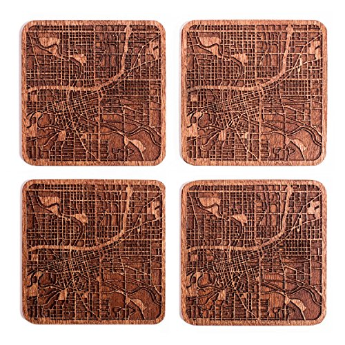Des Moines, IA Map Coaster by O3 Design Studio, Set Of 4, Sapele Wooden Coaster With City Map, Handmade]()