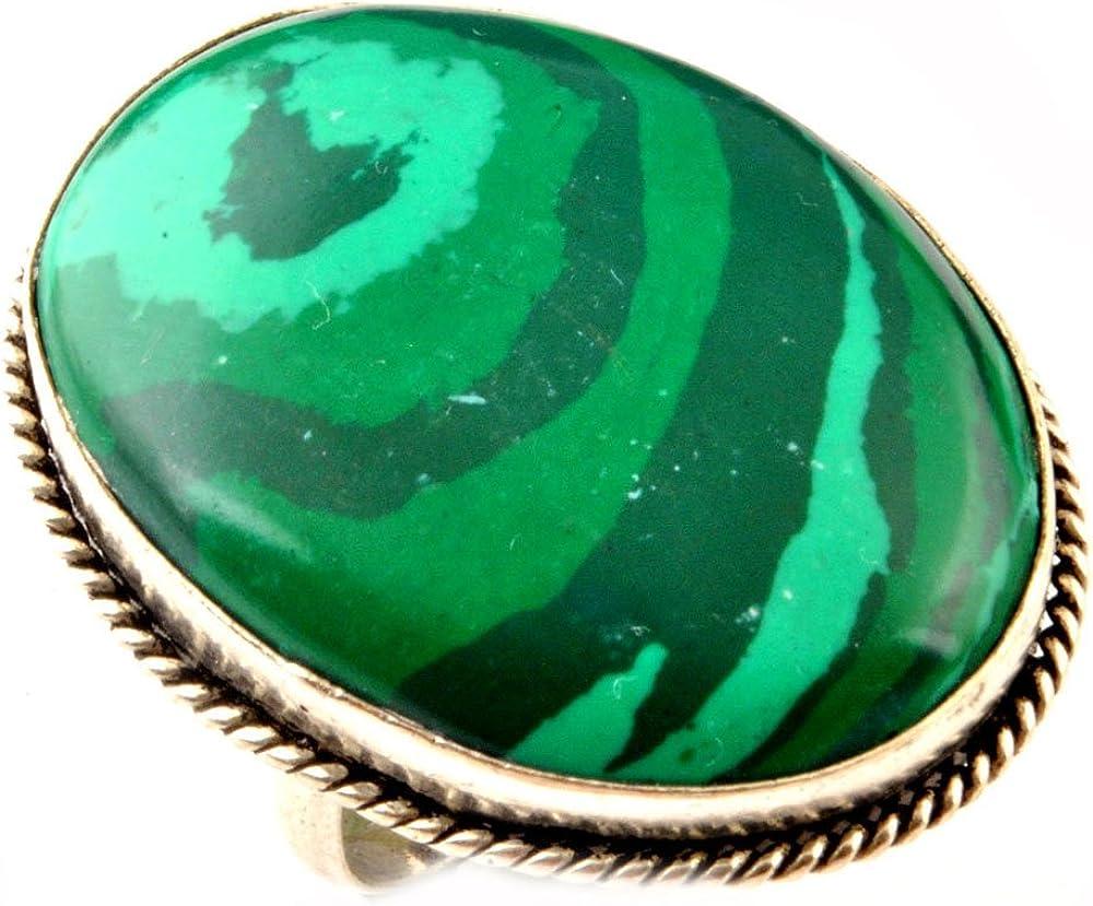 Indie Anillo malaquita artesanos Tamaño 925 tamaño de superposición Simulado Anillo Reino Unido anillo de piedras preciosas para mujer R / anillo de la UE 58.75