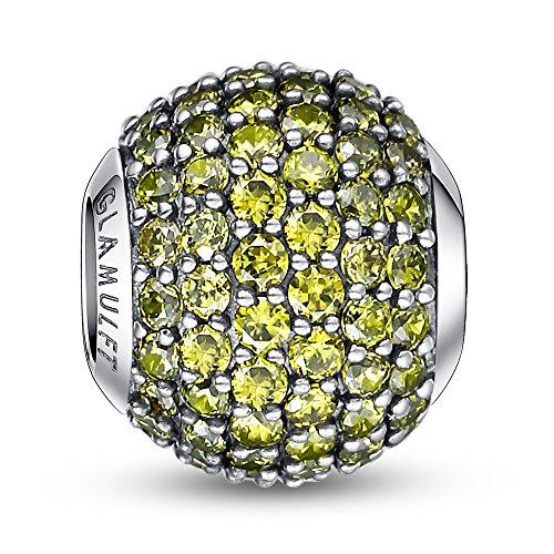Glamulet Sports - August Birthstone - Olive Green Paved Crystal Charm -- (Sterling Silver Bowling Ball)