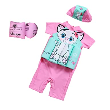 Floating Swimsuits for Girls, Pink Color with Cute White Cat Pattern, Come with Swimming