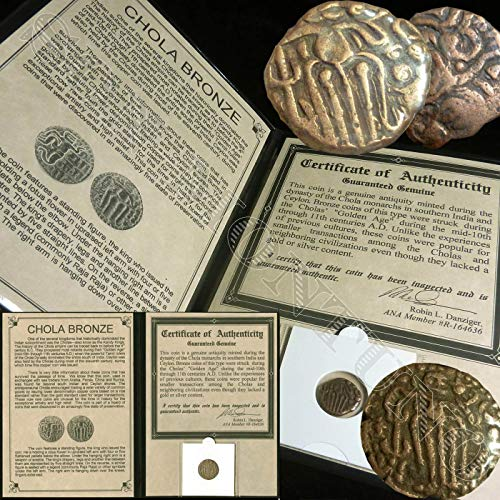 Ancient India Rajaraja Bronze Coin from 85-1014 AD - Comes in folder with Certificate of Authenticity - FOUND IN A HOARD ()