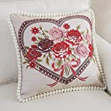 Aiar European-style Luxury Jacquard pillow luxury King size fabric sofa cushion cushion embroidery cushion cores hug pillowcase size: 48*48