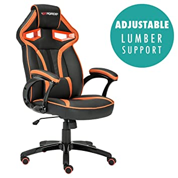 GTFORCE ROADSTER 1 SPORT RACING CAR OFFICE CHAIR, LEATHER, ADJUSTABLE LUMBAR SUPPORT GAMING DESK BUCKET (Gray): Amazon.es: Oficina y papelería