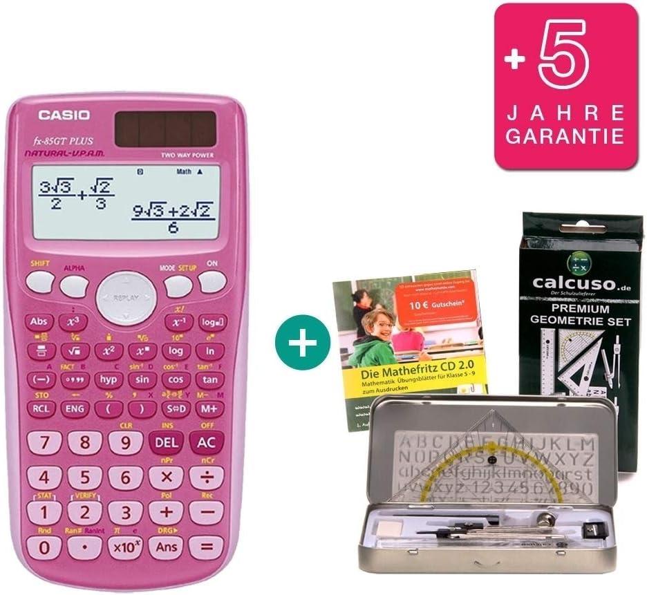 Casio FX-85GT Plus Rosa + Kit de geometría + CD de Aprendizaje CALCUSO + Garantía extendida 60 Meses