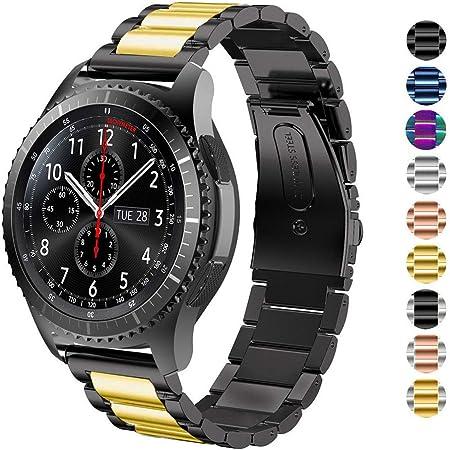 Image of DEALELE Compatible para Samsung Gear S3 Frontier/Classic/Galaxy Watch 46mm, 22mm Metal Acero Inoxidable Correa de Repuesto para Huawei GT Watch Active Mujer Hombre, Negro/Oro