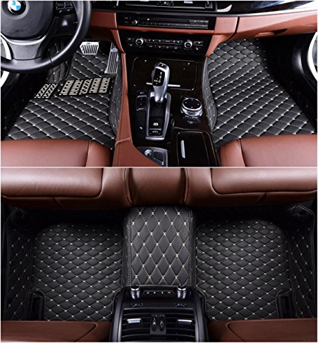 Okutech Custom Fit XPE Leather 3D Full Surrounded Waterproof Car Floor Mats for Cadillac ATS 4 door 2013-2016,Black with gold stitching
