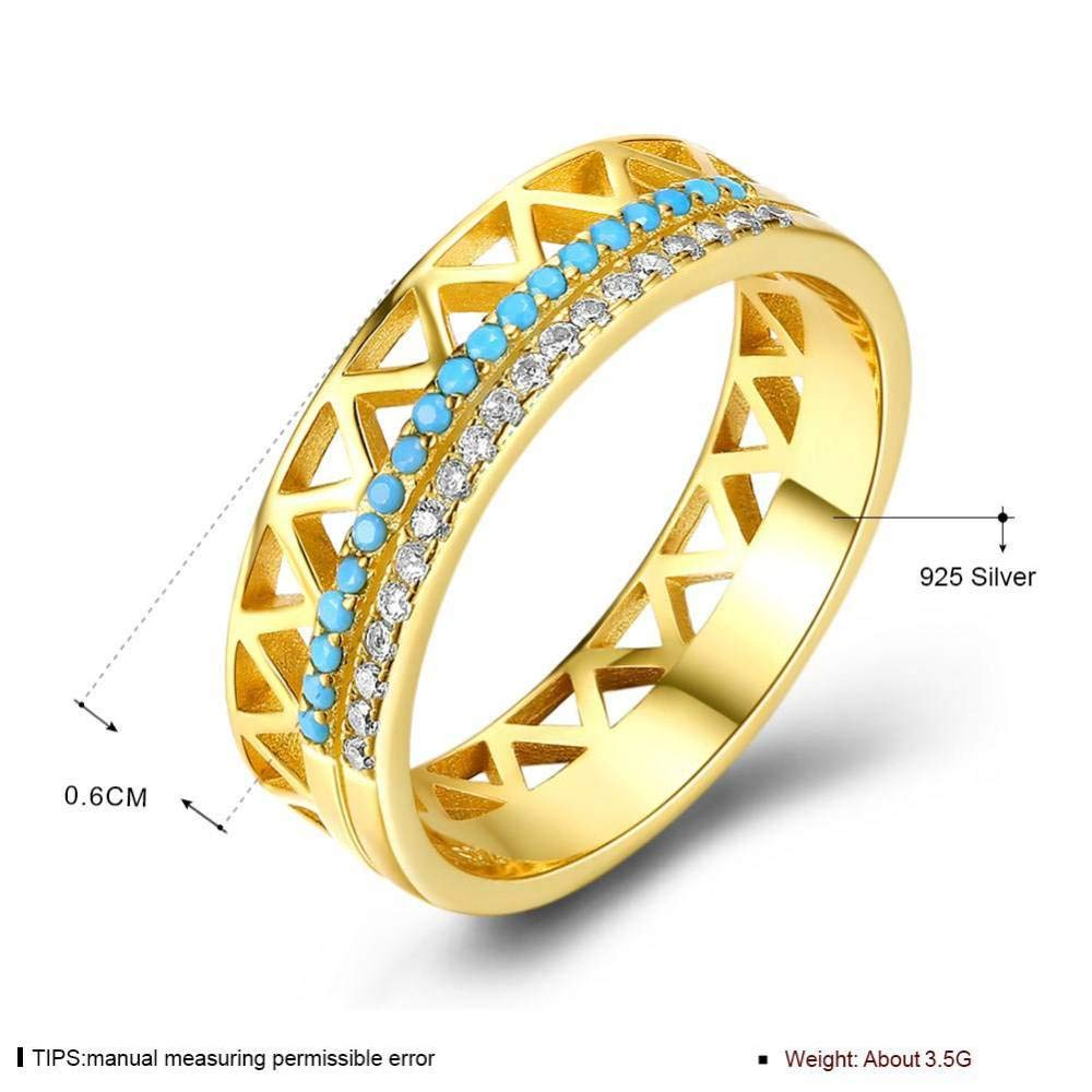 ywring Womens Sterling Silver Ring S925 Double Row Turquoise Inlaid Zircon Hollow Design Gold,Gold,7