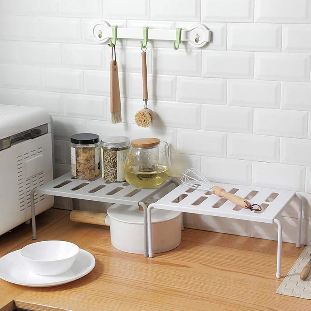Grid Design can Drain Bathroom Storage Gray Volwco Expandable Cupboard Shelf Desk Kitchen Shelf Organiser Multi-function Shelf Organisers for Kitchen Storage Makeup Storage