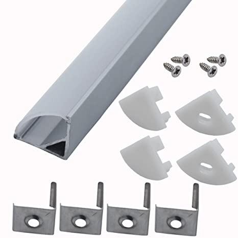 Litever 6 Pack 1Meter/3 3ft V Shape Aluminum Channels 90 Degree Corner LED  Strip Channel System with PC Cover, Mounting Clips, End Caps,Designed for
