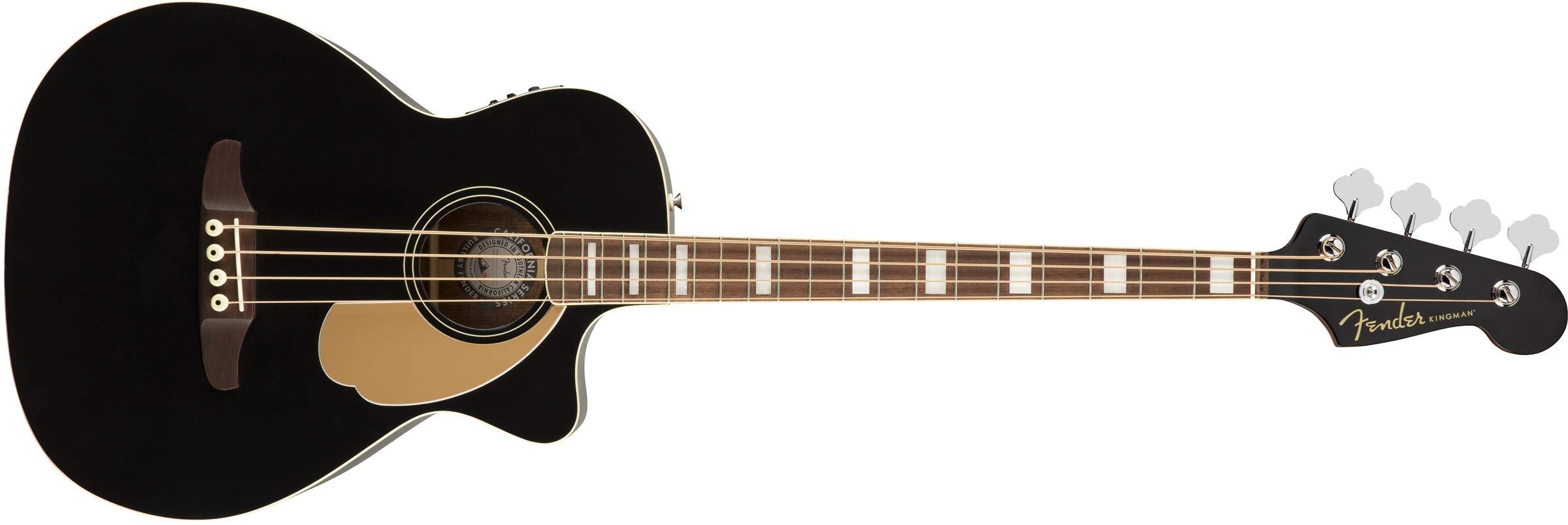 Fender Kingman Acoustic Bass Guitar (V2) - Black - with Bag - Walnut Fingerboard