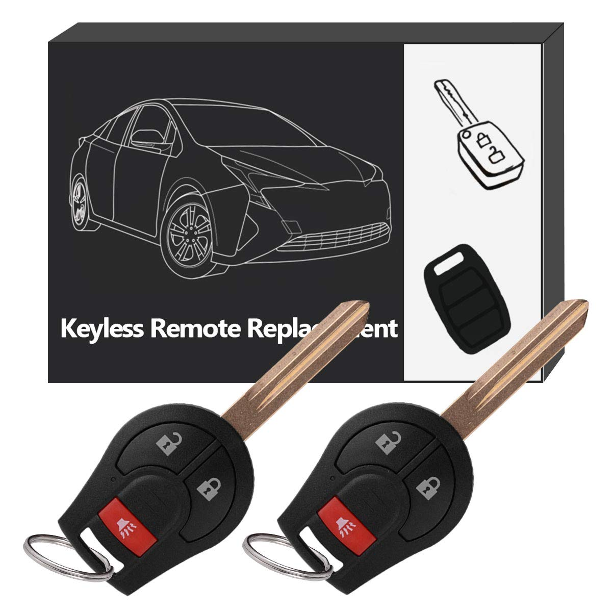YITAMOTOR Key Fob Compatible for 2008-2016 Nissan Rogue / 2007 2008 2009 2010 2011 2012 Nissan Sentra Uncut Ignition Head Key Remote Replacement for CWTWB1U751