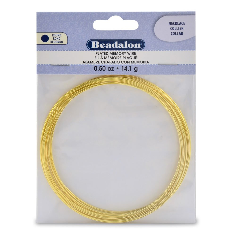 Amazon.com: Beadalon 347A-150 Gold Plated Memory Wire Necklace-1/2 ...