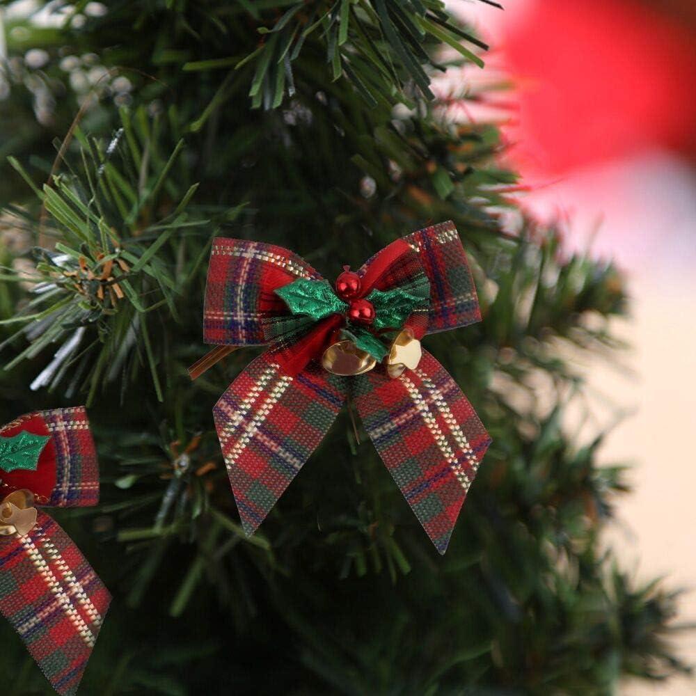 Festive Tartan Lazo para /árbol de Navidad Tela roja y Verde, 20 cm, 4 Unidades