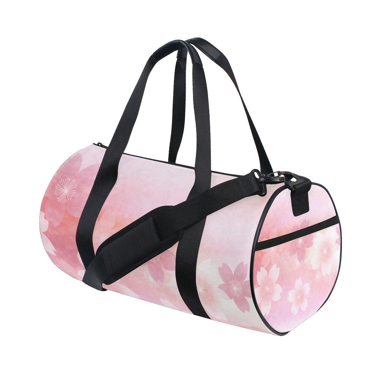 U LIFE Summer Spring Floral Flowers Elegant Sports Gym Shoulder Handy Duffel Bags for Women Men Kids Boys Girls