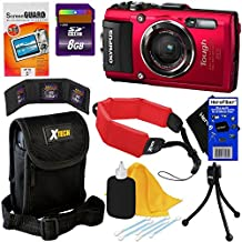 Olympus Stylus Tough TG-4 Waterproof, Shockproof , Freezeproof & Crushproof 16 MP Digital Camera with Wi-Fi, GPS & HD Video (Red) International Version + 8GB Accessory Kit w/ HeroFiber Cleaning Cloth