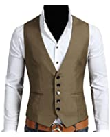 Generic Mens Classic Solid Color Slim Fit Formal Business Suit Vests