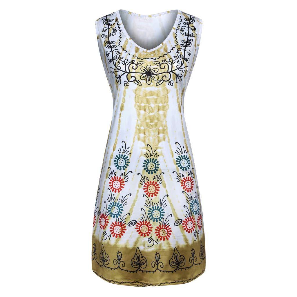 Women's Summer Casual Tshirt Dresses Short Sleeve Boho Beach Dress ❀Vine_MINMI❀ Boho A-Line Long Dress Maxi Skirt Khaki by Vine_MINMI Dress