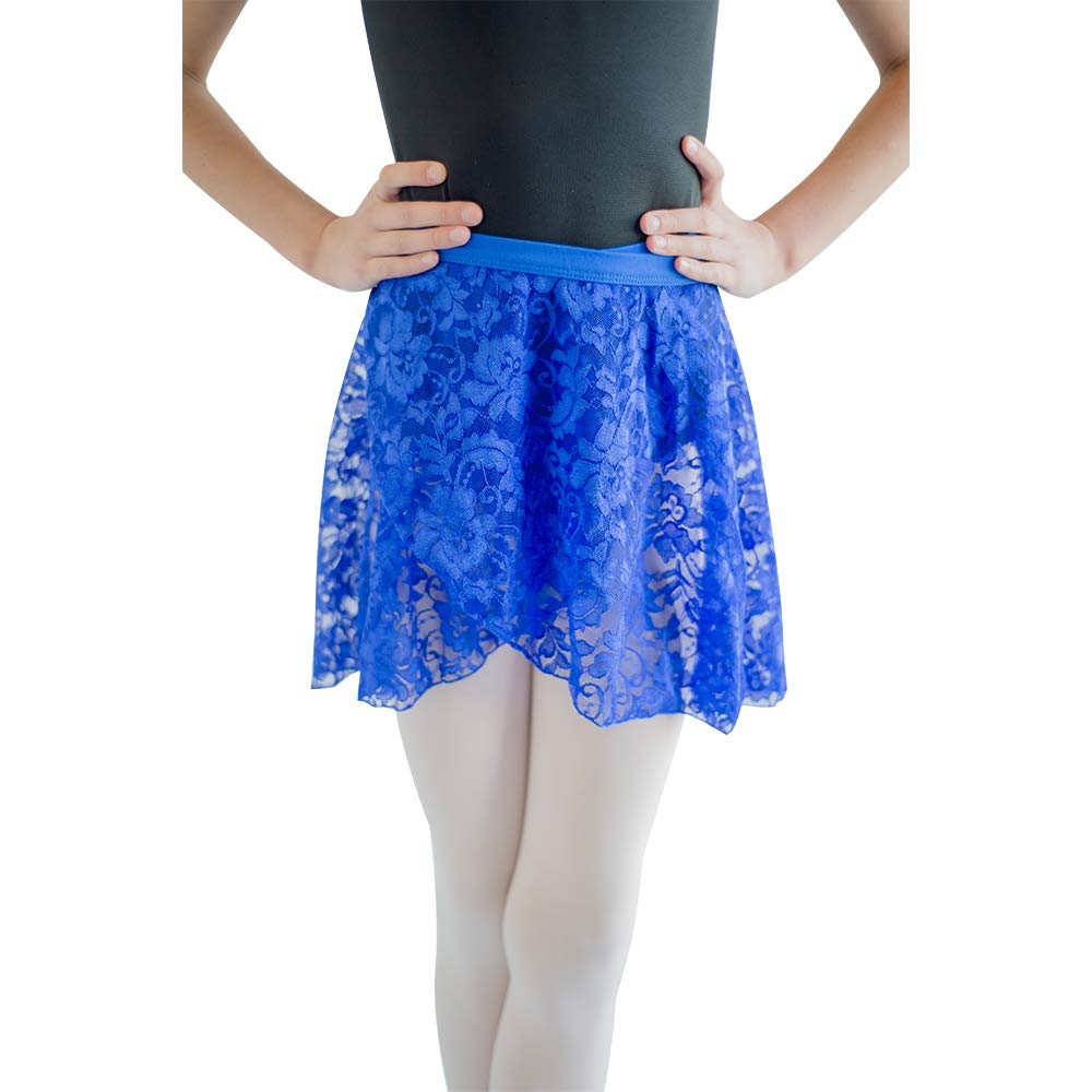 HDW DANCE Lace Dance Wrap Skirts for Kids Cotton Waistband (Royal Blue-C) by HDW DANCE