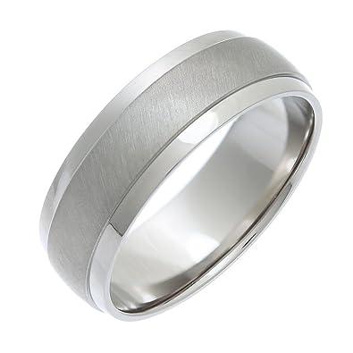 Theia Titanium Flat Court Shape Matt Centre Polished Bevel Edges 6 mm Ring DYZdBvb1
