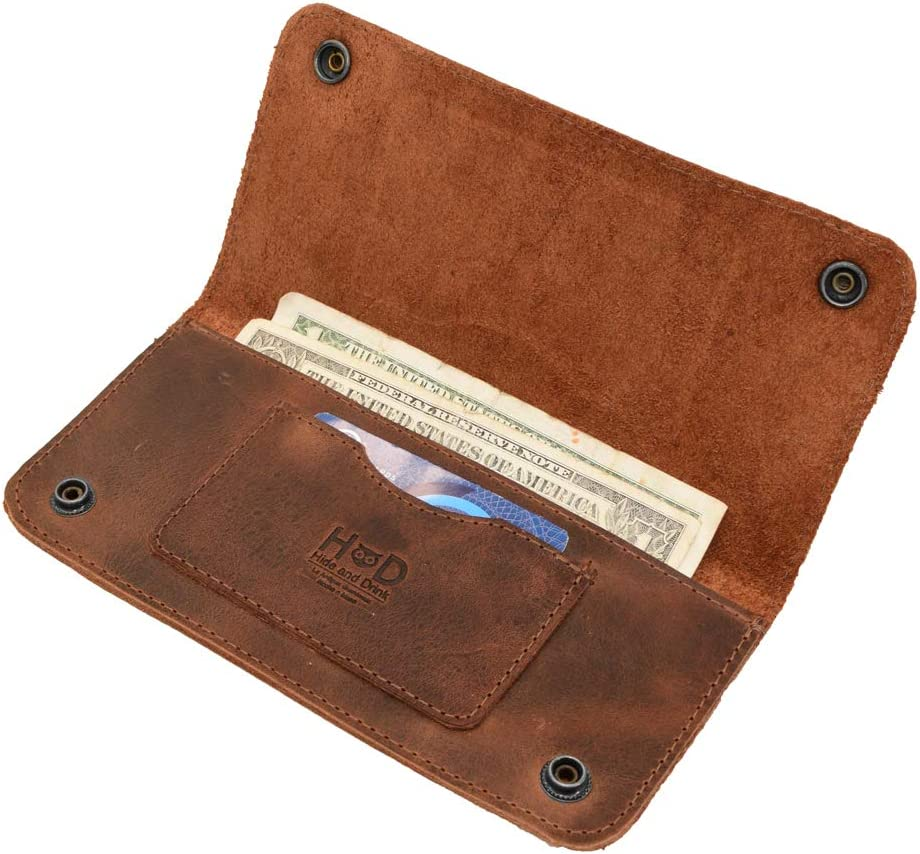 Hide & Drink, Leather Double Snap Folio Wallet, Holds Up to 3 Cards Plus Flat Bills & Coins / Case / Pouch / Accessories, Handmade Includes 101 Year Warranty :: Bourbon Brown