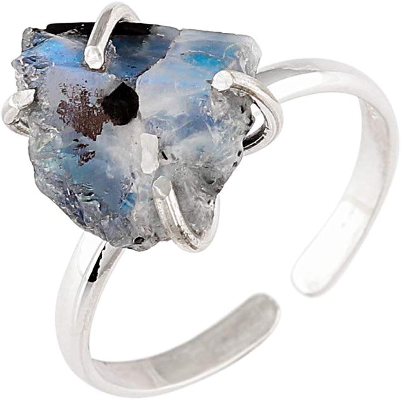 OOAK by Virat Anillo de plata esterlina con cristal de piedra lunar tourmilada natural, joyería hecha a mano, piedra de energía curativa, yoga, anillo de meditación, piedra de la buena fortuna