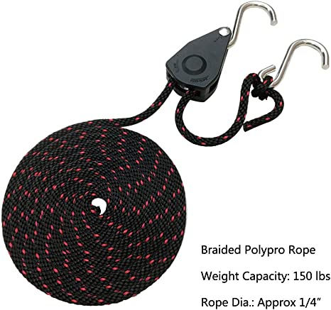X 10 ft Heavy Duty Rope Lock Adjustable Ratchet Pulley for Kayak Canoe Codinter Rope Tie Downs 1//4 in 2-Pack